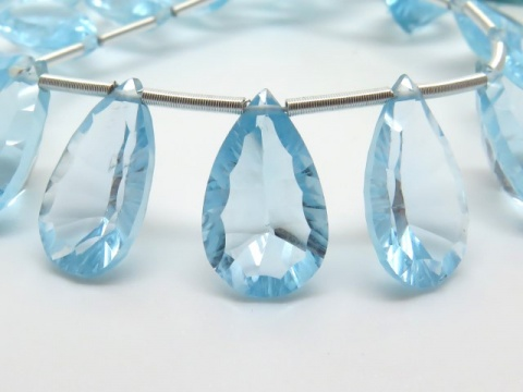 AAA Sky Blue Topaz Faceted Pear Cut Briolette ~ Various Sizes ~ SINGLE