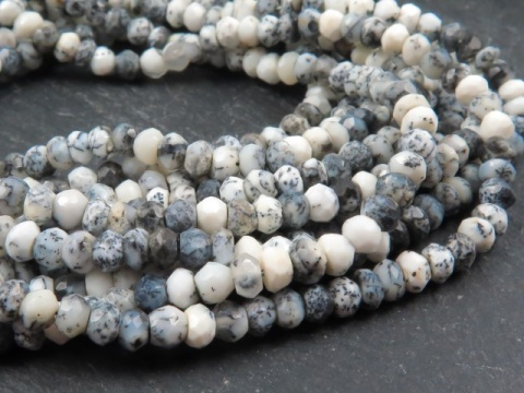 Dendritic Opal Faceted Rondelles 3.75mm ~ 13'' Strand