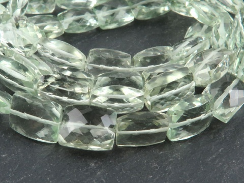 AA Green Amethyst Faceted Rectangle Beads 9-10.5mm ~ 8'' Strand