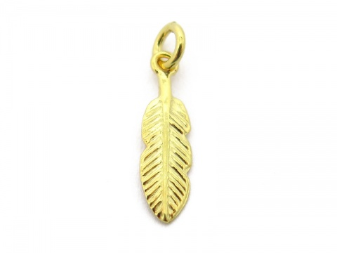 Gold Vermeil Feather Charm 15mm