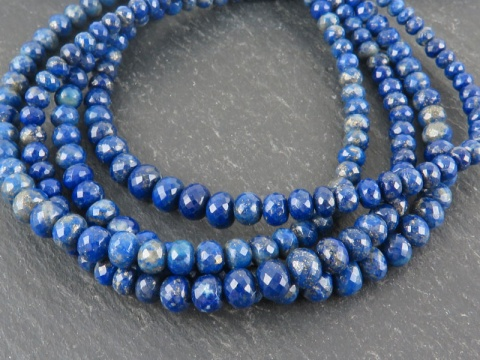 AA+ Lapis Lazuli Micro-Faceted Rondelles 3.25-5mm ~ 8.25'' Strand