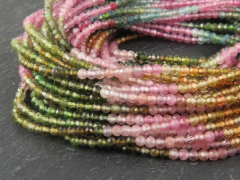 AAA Multi-Tourmaline Micro-Faceted Rondelles 2mm ~ 13'' Strand