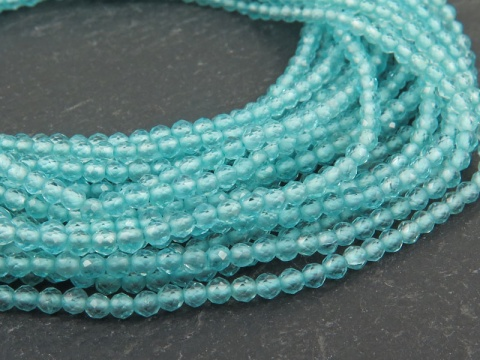 AAA Ocean Apatite Micro-Faceted Rondelles 2mm ~ 13'' Strand
