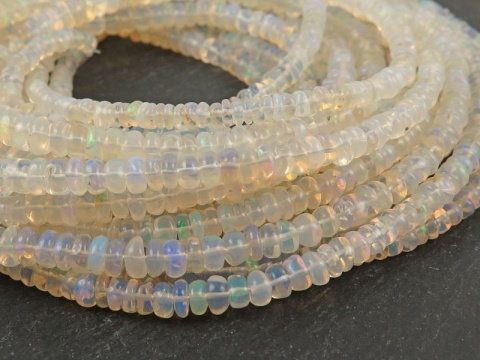 AA Ethiopian Opal Smooth Rondelle Beads 3.25-4.75mm ~ 17'' Strand