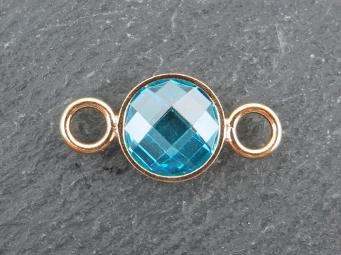 Cubic Zirconia Gold Filled Connector ~ Swiss Blue ~ 18mm