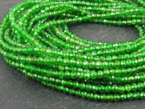 AAA Chrome Diopside Micro-Faceted Rondelles 2.5mm ~ 13'' Strand