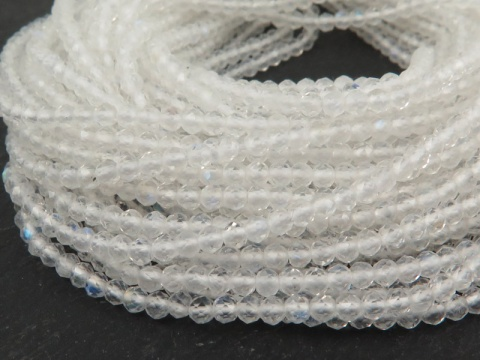 AA+ Rainbow Moonstone Micro Faceted Rondelles 2.25mm ~ 13'' Strand