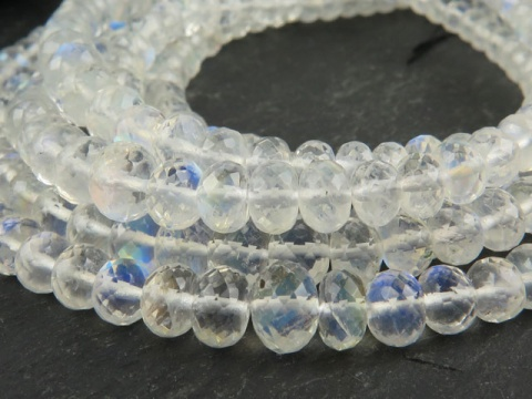 AA+ Rainbow Moonstone Micro-Faceted Rondelles ~ Various Sizes ~ 8.5'' Strand