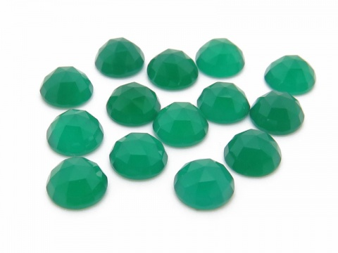 Green Onyx Rose Cut Round Cabochon ~ Various Sizes