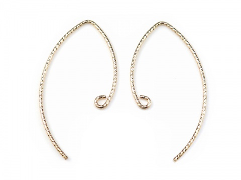 Gold Filled V Shape Sparkle Ear Wire 32mm ~ PAIR