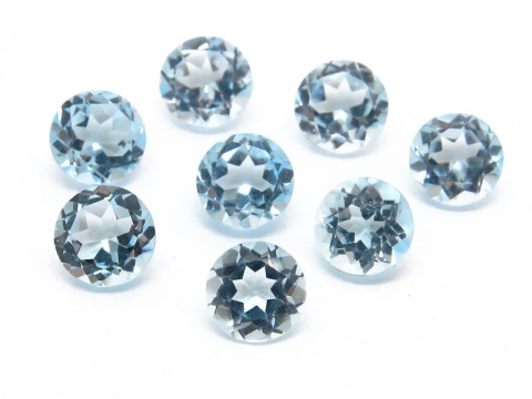 Sky Blue Topaz Faceted Round ~ Various Sizes