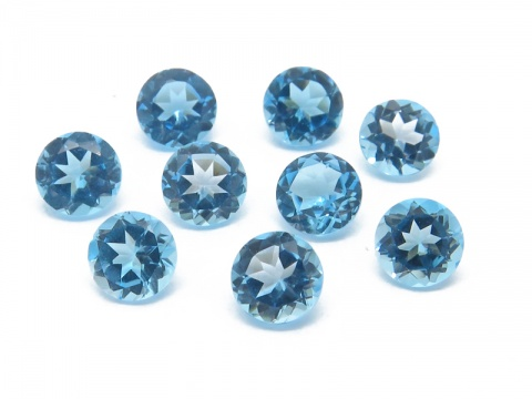 Swiss Blue Topaz Faceted Round ~ Various Sizes