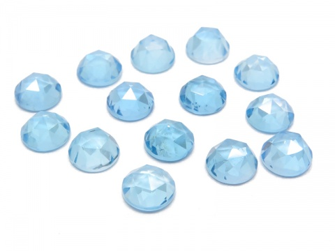 Swiss Blue Topaz Rose Cut Round Cabochon ~ Various Sizes