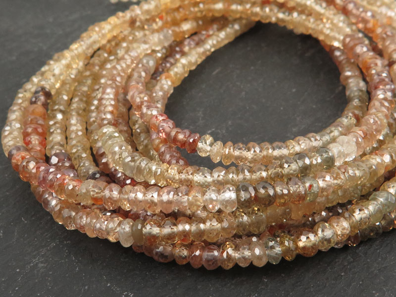 AA Multi Zircon Micro Faceted Rondelles 3.5mm ~ 17'' Strand
