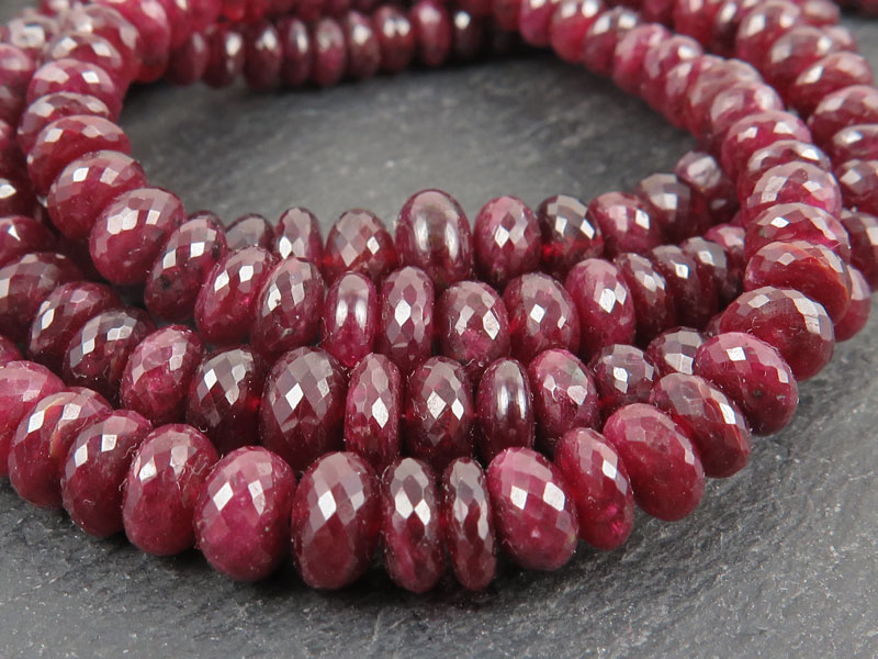 Ruby Faceted Rondelles 4-6mm ~ 8.25'' Strand