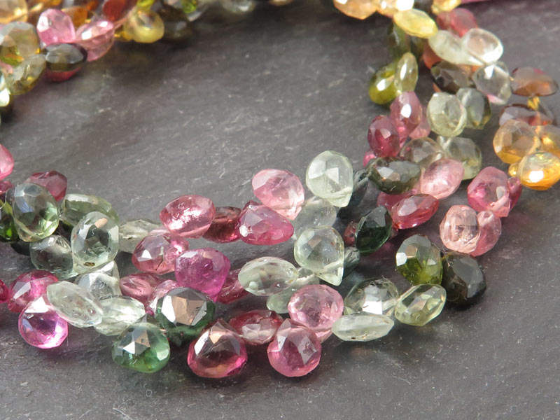Multi-Tourmaline Faceted Heart Briolettes 5.5mm ~ 8'' Strand
