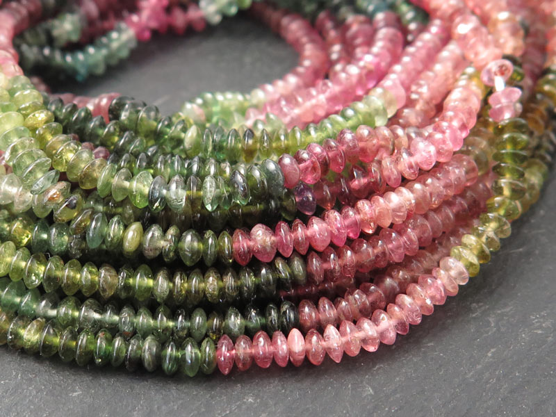 Multi-Tourmaline Smooth Button Beads 3.5mm ~ 15'' Strand