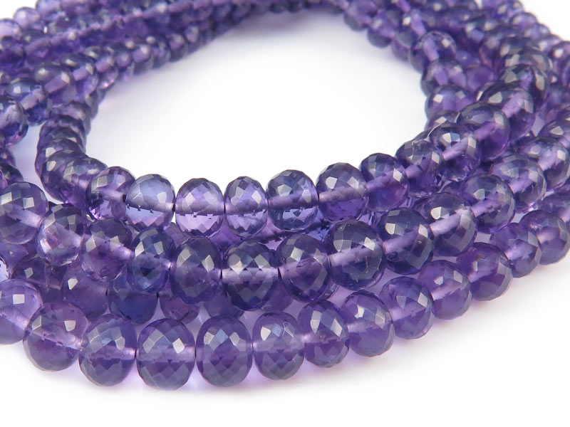AA+ Amethyst Micro-Faceted Rondelles 3.25-5.5mm ~ 8.5'' Strand