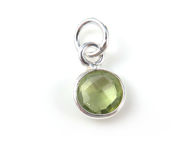 Sterling Silver Peridot Round Charm 6mm