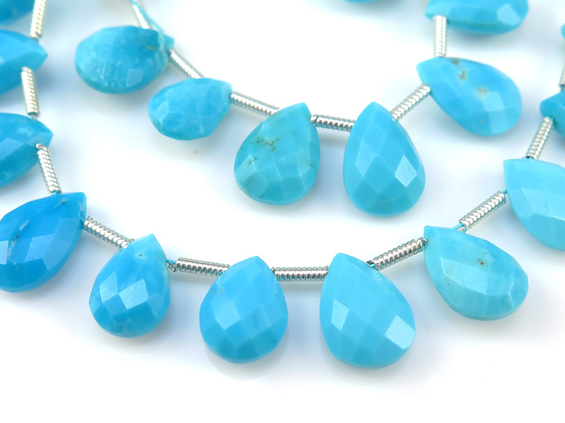 AA Arizona Turquoise Faceted Pear Briolettes 10mm ~ 8'' Strand