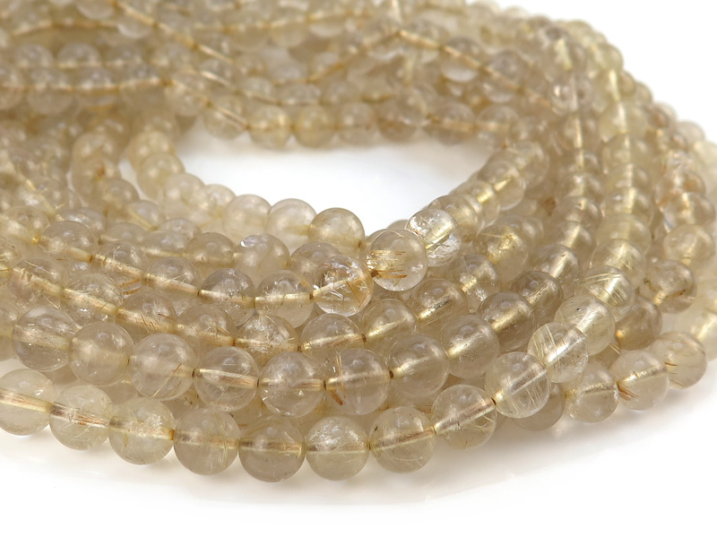 Golden Rutilated Quartz Smooth Round Beads ~ Various Sizes ~ 15'' Strand