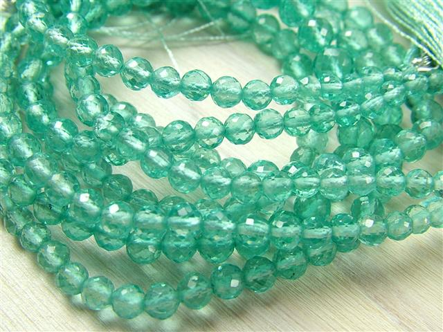AA+ Ocean Blue Apatite Micro-Faceted Rounds ~ Various Sizes ~ 8.25'' Strand