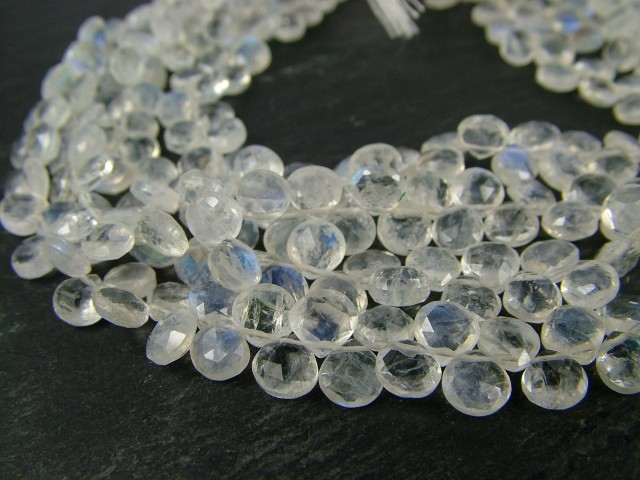 Rainbow Moonstone Faceted Heart Briolettes 5-5.5mm ~ 8'' Strand