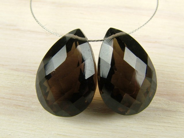 AAA Smoky Quartz Faceted Pear Cut Briolette 13mm ~ SINGLE