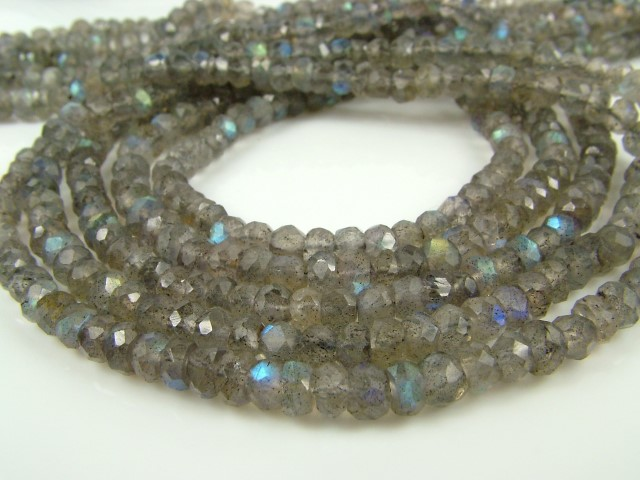Labradorite Faceted Rondelle Beads ~ Various Sizes ~ 14'' Strand