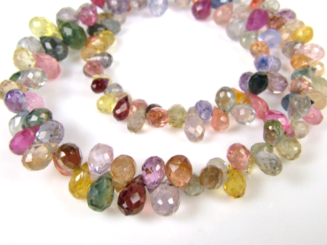 AA Multi Sapphire Micro-Faceted Teardrop Briolettes 3-5mm ~ 8'' Strand