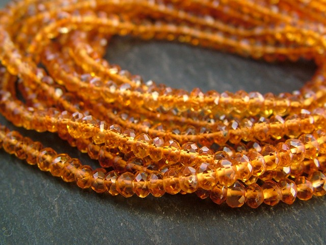 AA Madeira Citrine Faceted Rondelles 3mm ~ 14.5'' Strand