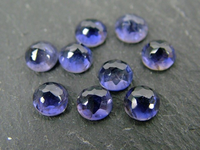 Iolite Rose Cut Round Cabochon ~ Various Sizes