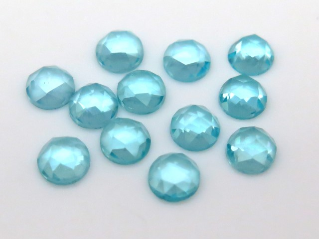 Ocean Blue Apatite Rose Cut Round Cabochon ~ Various Sizes