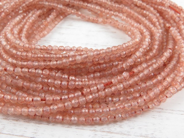 AAA Sunstone Micro-Faceted Rondelles 2mm ~ 13'' Strand