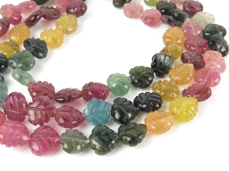 Multi Tourmaline Carved Leaf Beads 7.5mm