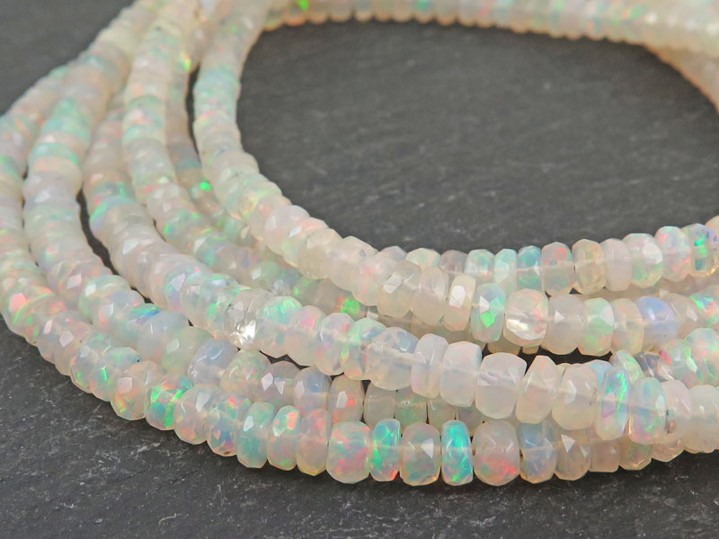 AA Ethiopian Opal Micro Faceted Rondelle Beads 3.5-4.5mm ~ 16'' Strand
