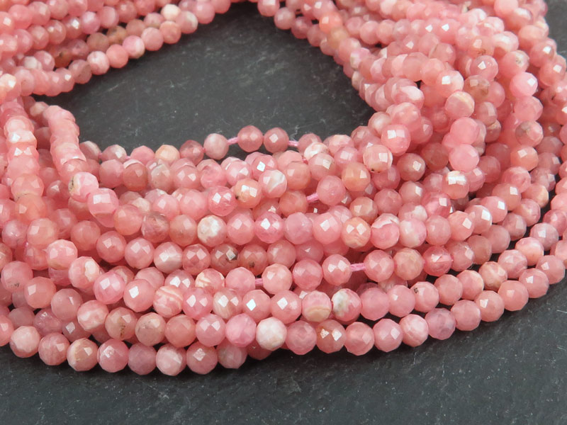 AAA Rhodochrosite Micro-Faceted Round Beads 3mm ~ 13'' Strand
