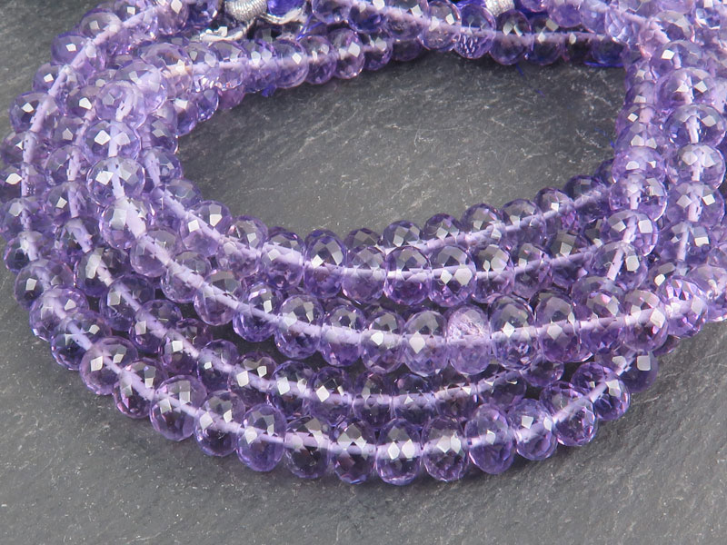 AAA Amethyst Micro-Faceted Rondelles 6mm ~ 8'' Strand