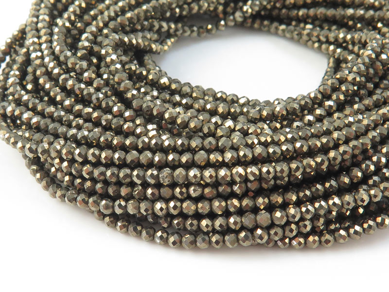 AAA Pyrite Micro-Faceted Rondelles 2-2.25mm ~ 13'' Strand