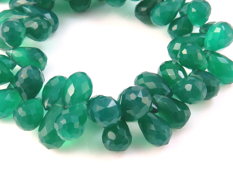 AA+ Green Onyx Faceted Teardrop Briolettes 9-10mm