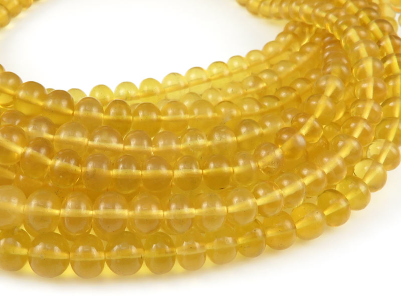 AA Yellow Opal Smooth Rondelle Beads 3.5-5.25mm ~ 9'' Strand