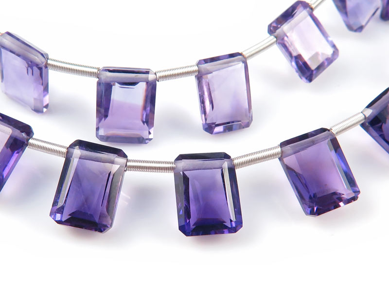 AA+ Amethyst Emerald Cut Briolettes 8mm