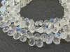 AA Rainbow Moonstone Faceted Teardrop Briolettes 8mm ~ 8'' Strand