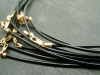Black Leather (1.5mm) Necklace with Gold Filled Trigger Clasp ~ 18''