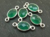 Sterling Silver Green Onyx Oval Connector 14mm