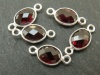 Sterling Silver Garnet Oval Connector 14mm