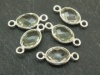 Sterling Silver Green Amethyst Oval Connector 14mm