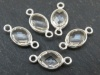 Sterling Silver Crystal Quartz Oval Connector 15mm