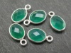 Sterling Silver Green Onyx Oval Charm 12mm