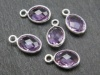 Sterling Silver Amethyst Oval Charm 12mm